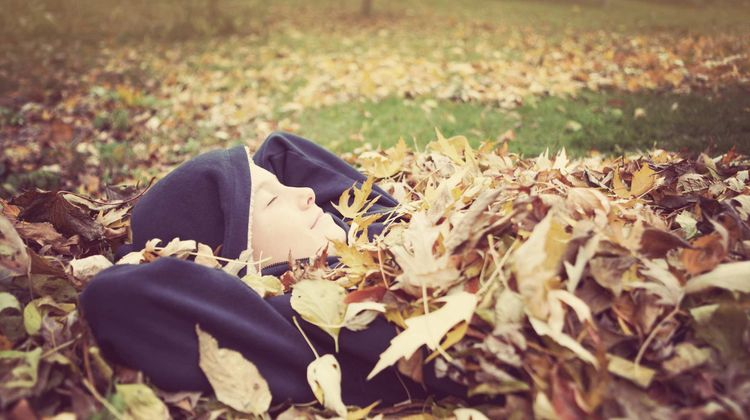 boy lying in a field, covered by dry leaves